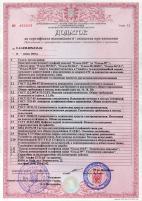 Приложение к сертификату Госкомсвязи Украины на платы CTI «Ольха-9P,-10LP»